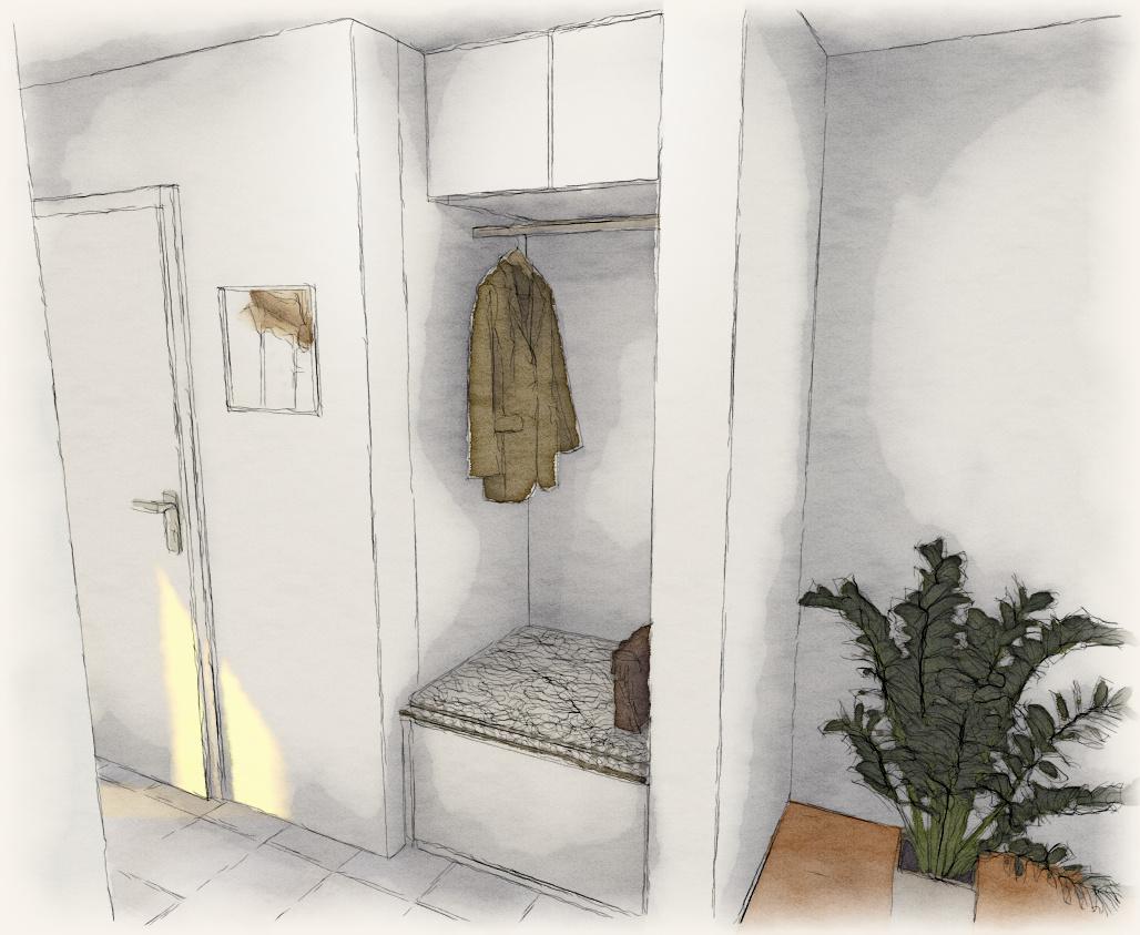 Moderne garderobe gallery of zontania in wei eiche modern for Garderobe mit glasfront